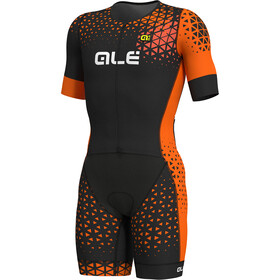 Alé Cycling Rush Tri SS Unitard Long Men black-flou orange